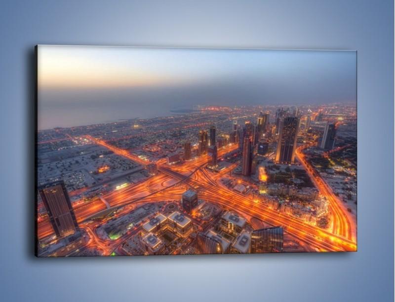 Obraz na płótnie – Panorama Dubaju o poranku – jednoczęściowy prostokątny poziomy AM538
