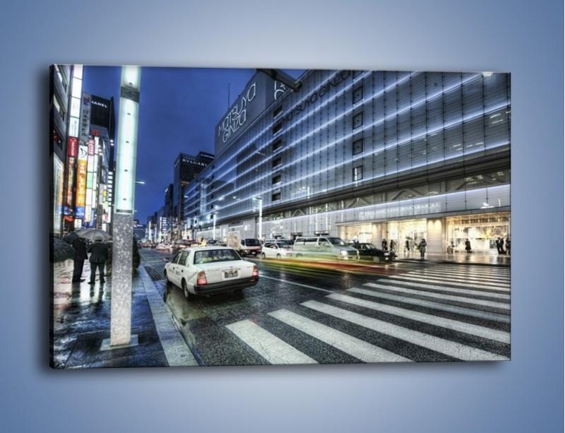 Obraz na płótnie – Ulica Tokyo w deszczu – jednoczęściowy prostokątny poziomy AM613
