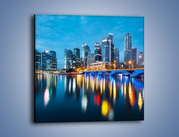 Obraz na płótnie – Kolorowe światła Singapuru – jednoczęściowy kwadratowy AM408