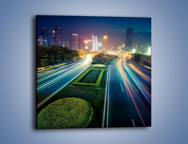 Obraz na płótnie – Uliczne światła Szanghaju – jednoczęściowy kwadratowy AM409