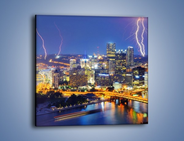 Obraz na płótnie – Burza nad Pittsburgiem – jednoczęściowy kwadratowy AM410