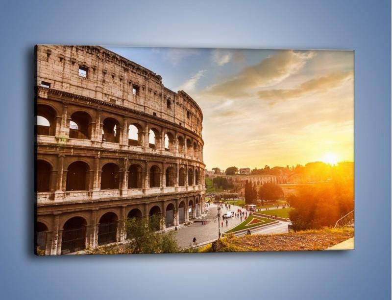 Obraz na płótnie – Rzymskie Koloseum o zachodzie słońca – jednoczęściowy prostokątny poziomy AM684