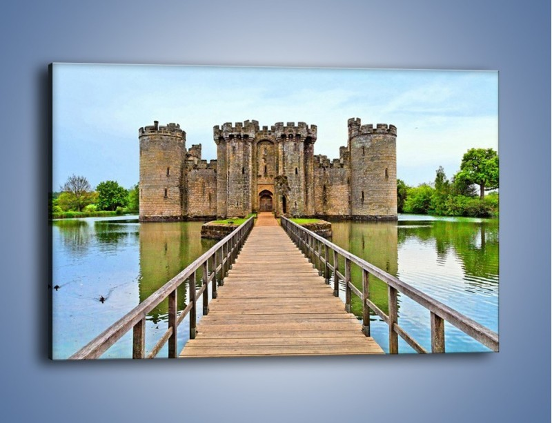 Obraz na płótnie – Zamek Bodiam w Wielkiej Brytanii – jednoczęściowy prostokątny poziomy AM692
