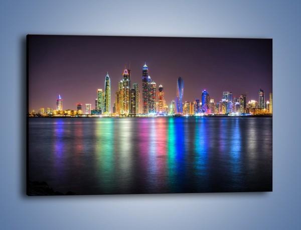 Obraz na płótnie – Kolorowe drapacze chmur w Dubaju – jednoczęściowy prostokątny poziomy AM724