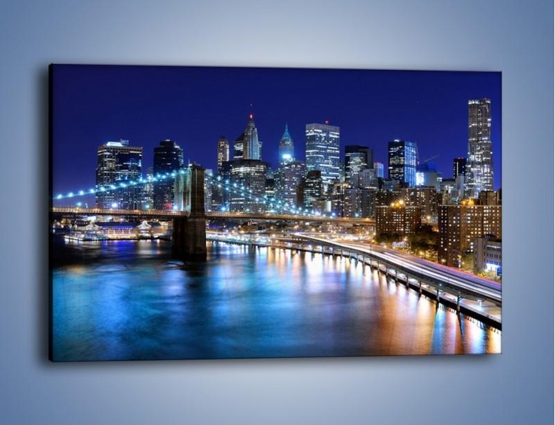 Obraz na płótnie – Nocne światła Nowego Yorku – jednoczęściowy prostokątny poziomy AM726