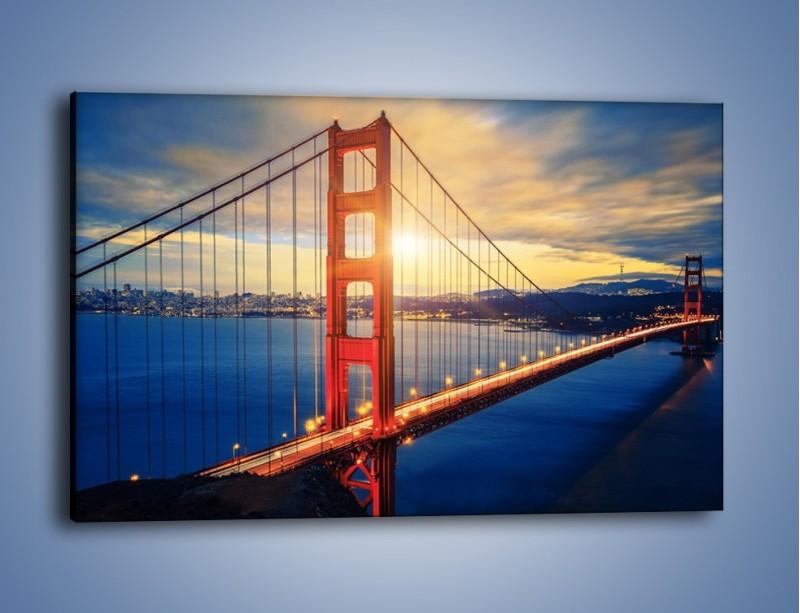 Obraz na płótnie – Zachód słońca nad Mostem Golden Gate – jednoczęściowy prostokątny poziomy AM738