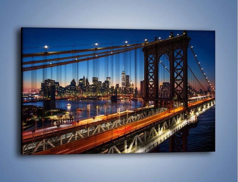 Obraz na płótnie – Nowojorskie mosty na tle Manhattanu – jednoczęściowy prostokątny poziomy AM751
