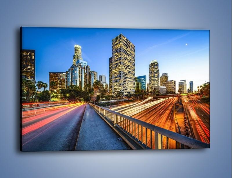 Obraz na płótnie – Światła Los Angeles o zmierzchu – jednoczęściowy prostokątny poziomy AM753