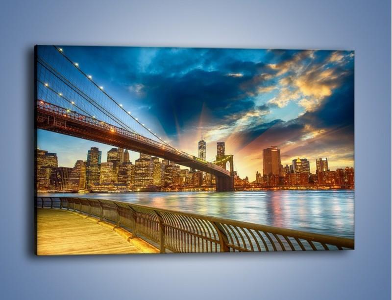 Obraz na płótnie – Most w Nowym Jorku o zmierzchu – jednoczęściowy prostokątny poziomy AM754