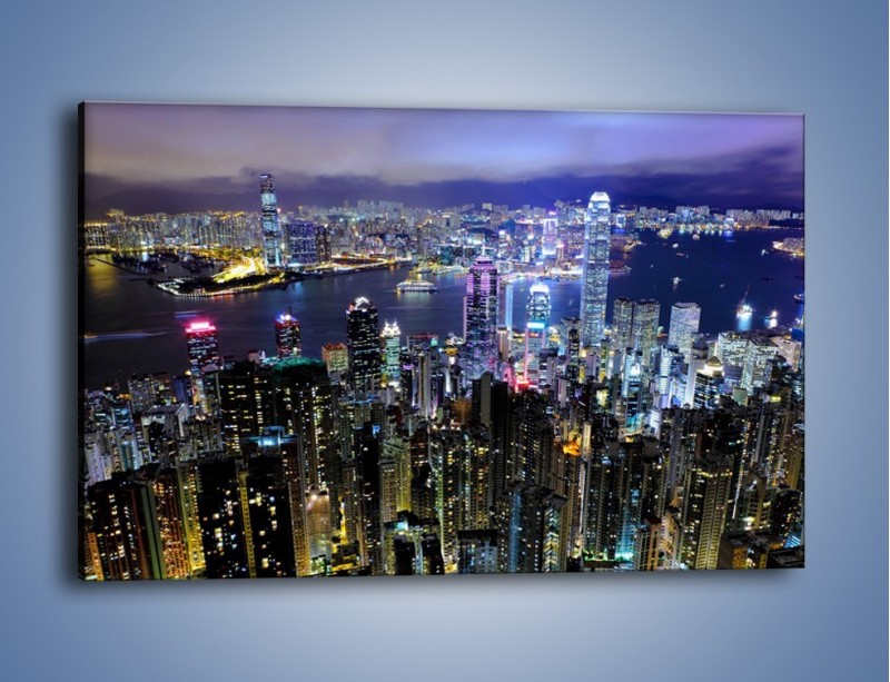 Obraz na płótnie – Nocna panorama Hong Kongu – jednoczęściowy prostokątny poziomy AM772