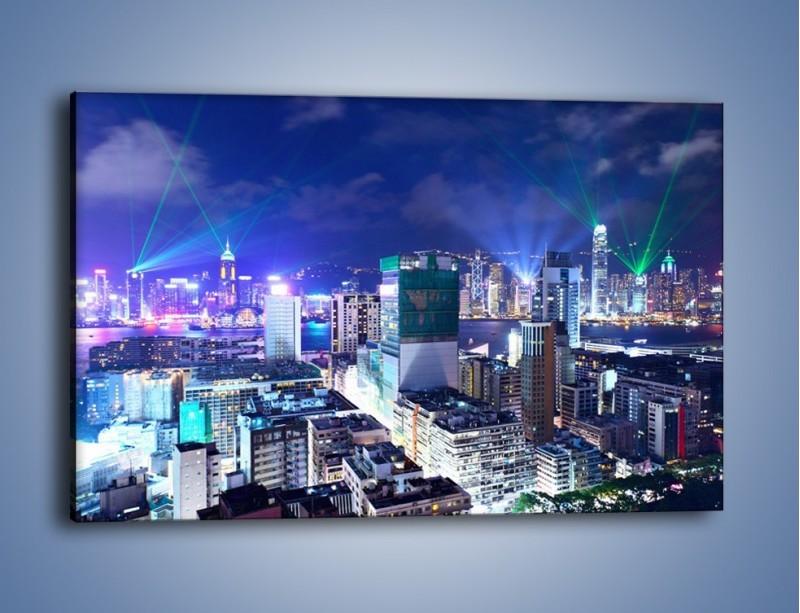 Obraz na płótnie – Pokaz laserów nad Hong Kongiem – jednoczęściowy prostokątny poziomy AM796