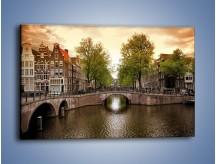 Obraz na płótnie – Amsterdamski kanał – jednoczęściowy prostokątny poziomy AM800