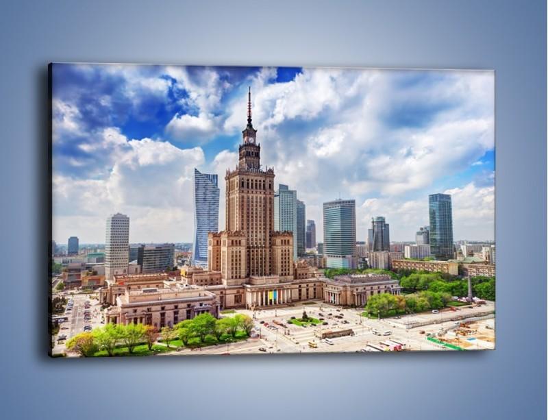 Obraz na płótnie – Pałac Kultury i Nauki w Warszawie – jednoczęściowy prostokątny poziomy AM806