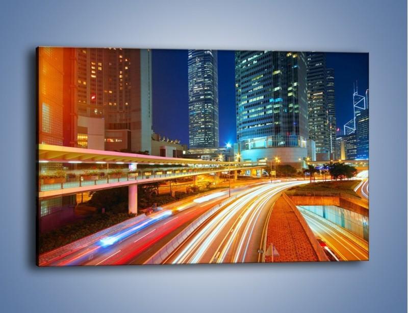 Obraz na płótnie – Nocne kolory miasta – jednoczęściowy prostokątny poziomy AM808