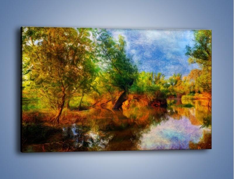 Obraz na płótnie – Drzewa w wodnym lustrze – jednoczęściowy prostokątny poziomy GR010