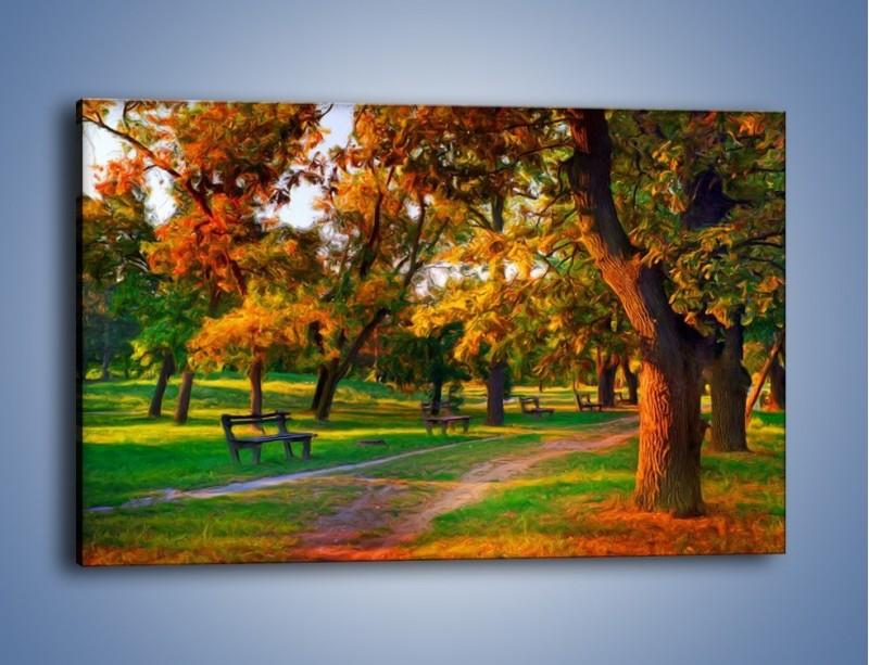 Obraz na płótnie – Ławeczka w parku – jednoczęściowy prostokątny poziomy GR011