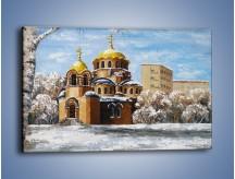 Obraz na płótnie – Cerkiew w trakcie zimy – jednoczęściowy prostokątny poziomy GR024