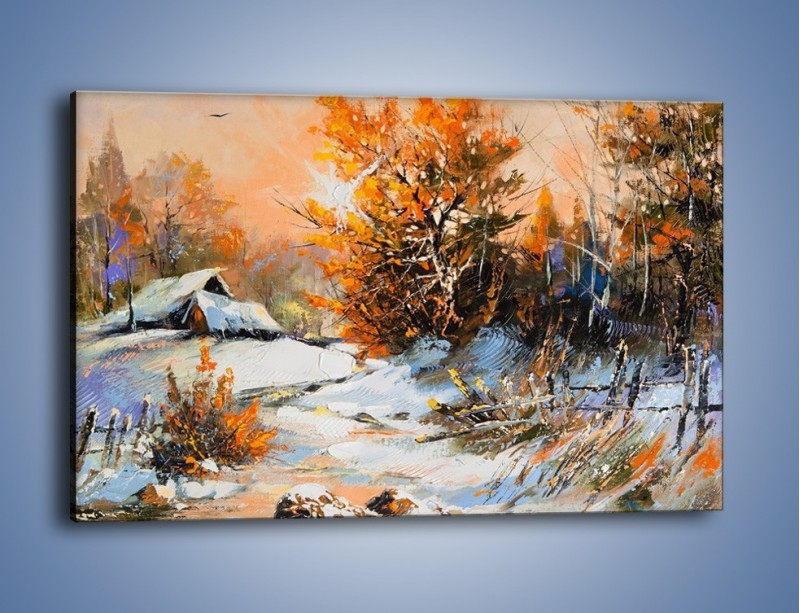 Obraz na płótnie – Zimowy klimat na wsi – jednoczęściowy prostokątny poziomy GR027