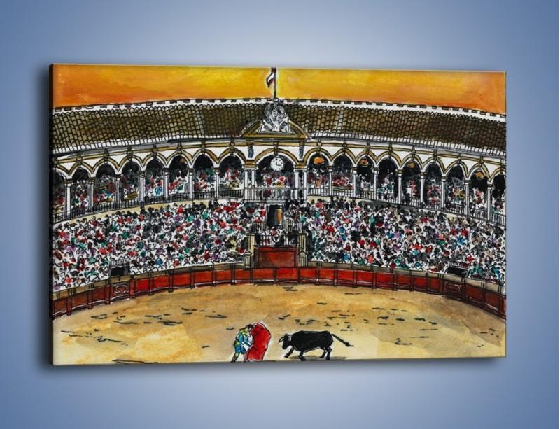 Obraz na płótnie – Walka torreadora z bykiem – jednoczęściowy prostokątny poziomy GR040