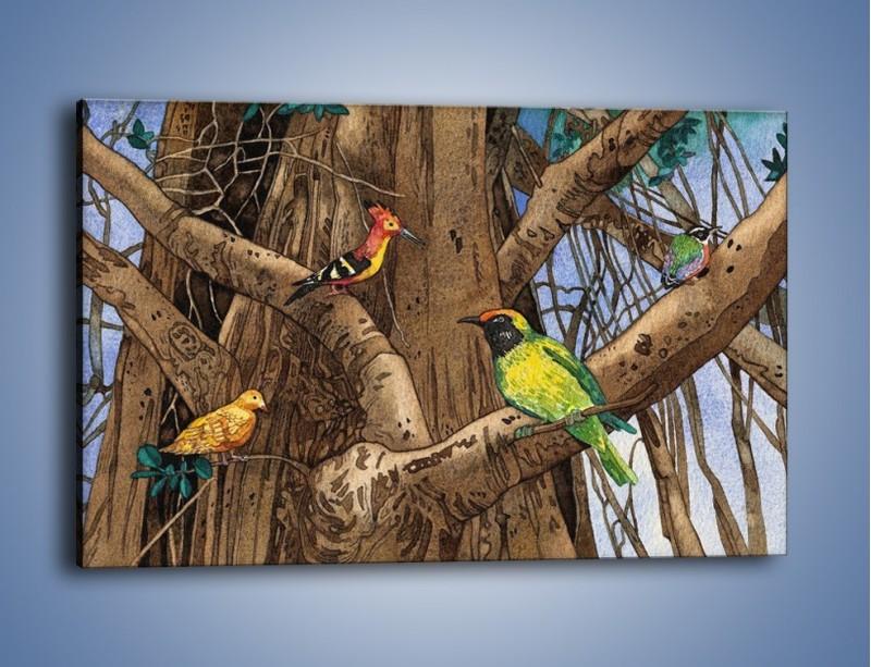 Obraz na płótnie – Mali przyjaciele na drzewie – jednoczęściowy prostokątny poziomy GR050