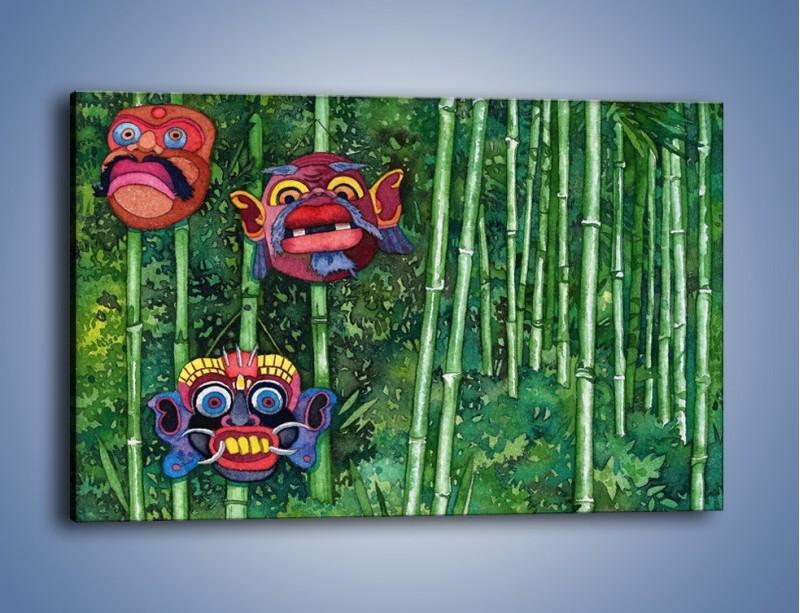 Obraz na płótnie – Maski dzikiego plemienia – jednoczęściowy prostokątny poziomy GR051