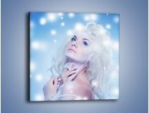Obraz na płótnie – Biała dama i światełka – jednoczęściowy kwadratowy L318