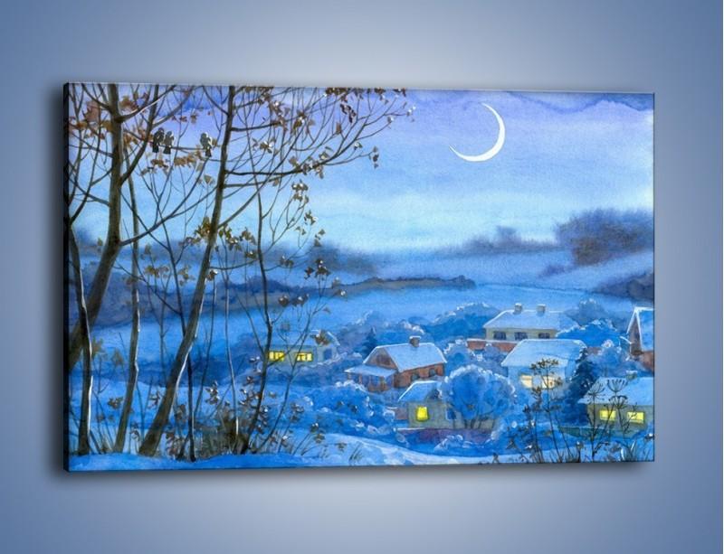 Obraz na płótnie – Domki w świetle księżyca – jednoczęściowy prostokątny poziomy GR097