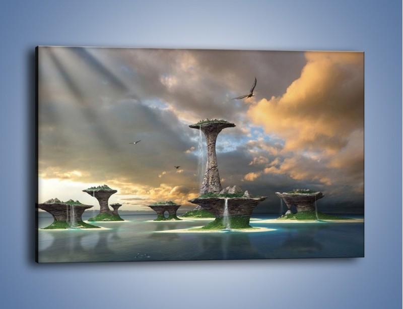 Obraz na płótnie – Kamienne fontanny pełne magii – jednoczęściowy prostokątny poziomy GR130