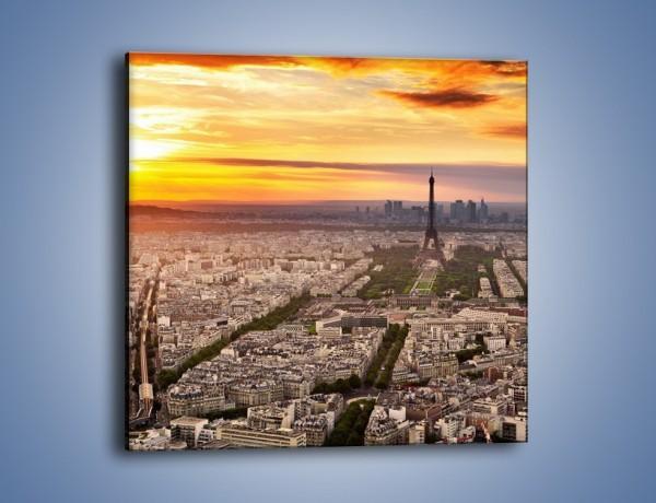 Obraz na płótnie – Zachód słońca nad Paryżem – jednoczęściowy kwadratowy AM420