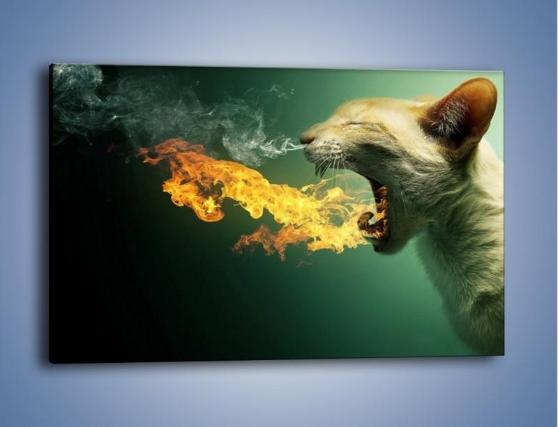 Obraz na płótnie – Kot z gorącym oddechem – jednoczęściowy prostokątny poziomy GR180