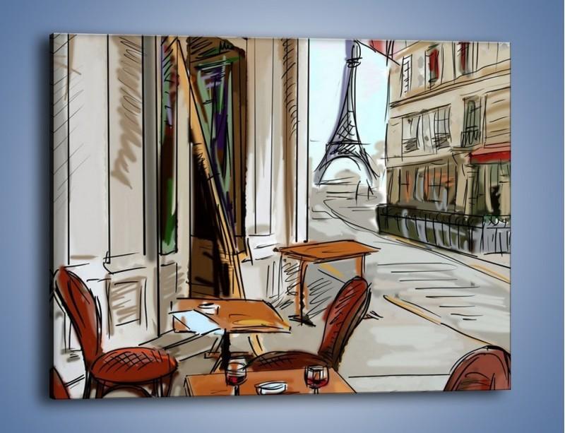 Obraz na płótnie – Lampka wina w paryżu – jednoczęściowy prostokątny poziomy GR260
