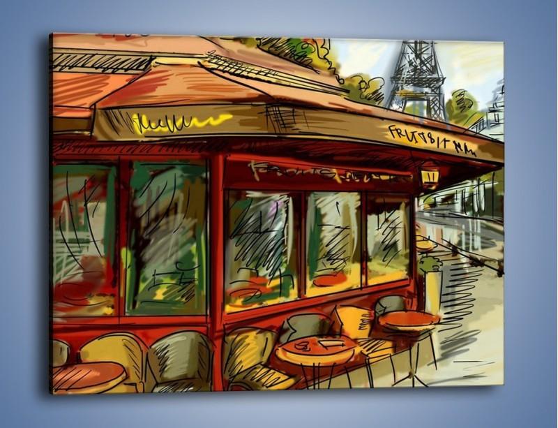 Obraz na płótnie – Paryskie kawiarenki pod daszkiem – jednoczęściowy prostokątny poziomy GR261