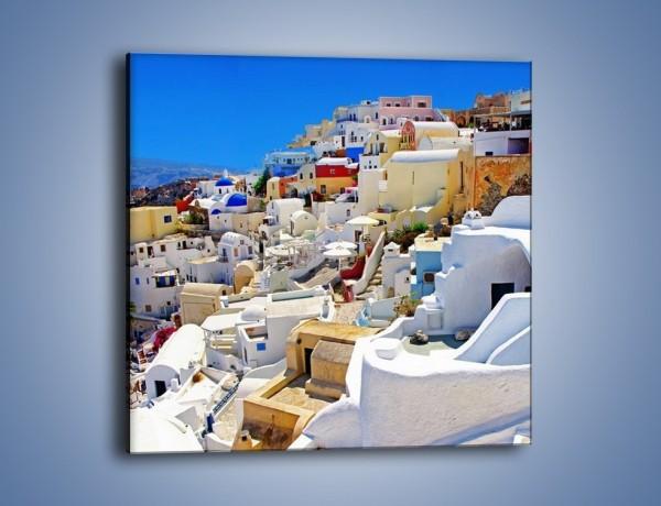 Obraz na płótnie – Urokliwe miasteczko w Santorini – jednoczęściowy kwadratowy AM426