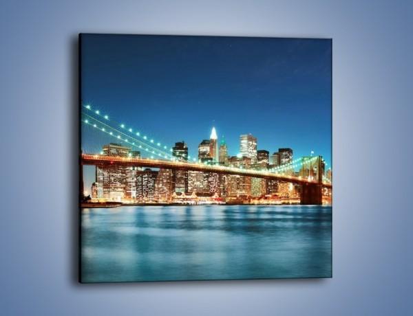 Obraz na płótnie – Most Brookliński na tle Nowego Jorku – jednoczęściowy kwadratowy AM428