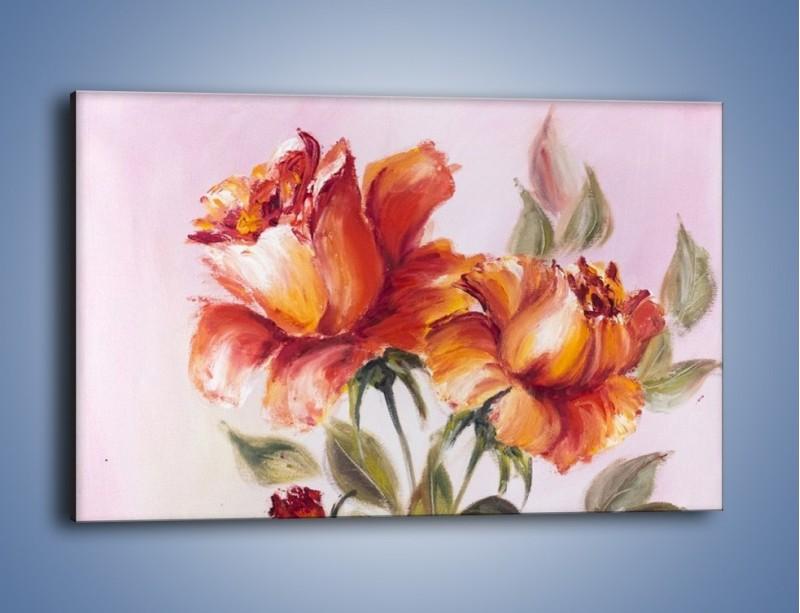 Obraz na płótnie – Kwiaty na płótnie malowane – jednoczęściowy prostokątny poziomy GR322