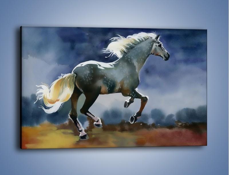 Obraz na płótnie – Bieg z koniem przez noc – jednoczęściowy prostokątny poziomy GR339