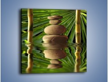 Obraz na płótnie – Kamień w bambusowym okienku – jednoczęściowy kwadratowy O068
