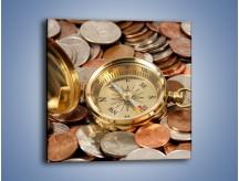 Obraz na płótnie – Kompas zatopiony w monetach – jednoczęściowy kwadratowy O089