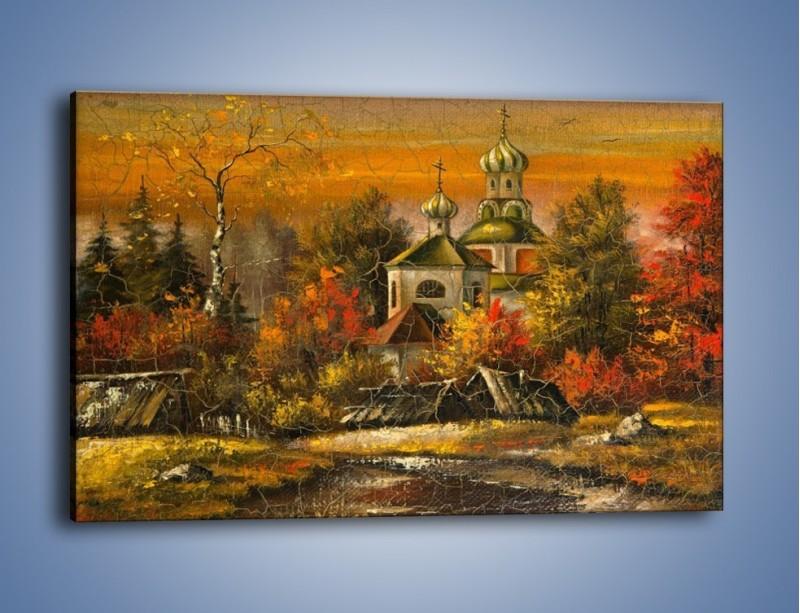 Obraz na płótnie – Kaplica późną jesienią – jednoczęściowy prostokątny poziomy GR369