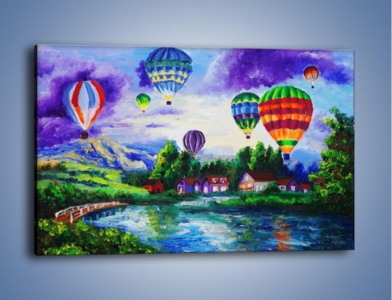 Obraz na płótnie – Lot kolorowym balonem – jednoczęściowy prostokątny poziomy GR482
