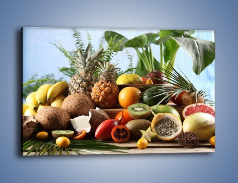 Obraz na płótnie – Mix owocowy na drewnianym stole – jednoczęściowy prostokątny poziomy JN009