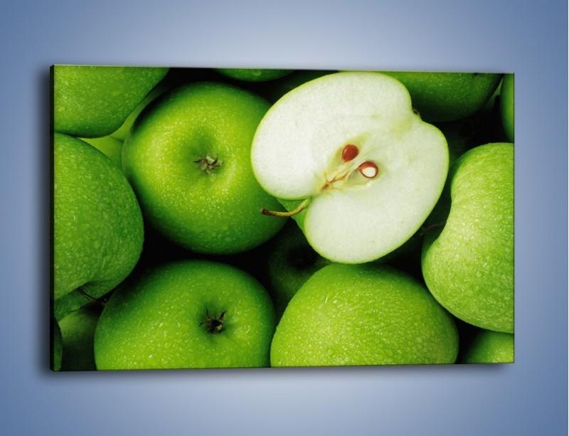 Obraz na płótnie – Zielone jabłuszka – jednoczęściowy prostokątny poziomy JN039