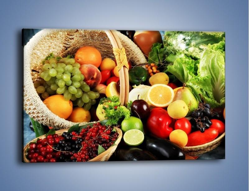 Obraz na płótnie – Kosz pełen owocowo-warzywnego zdrowia – jednoczęściowy prostokątny poziomy JN059