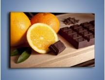 Obraz na płótnie – Czekoladowo-pomarańczowa rozkosz – jednoczęściowy prostokątny poziomy JN094