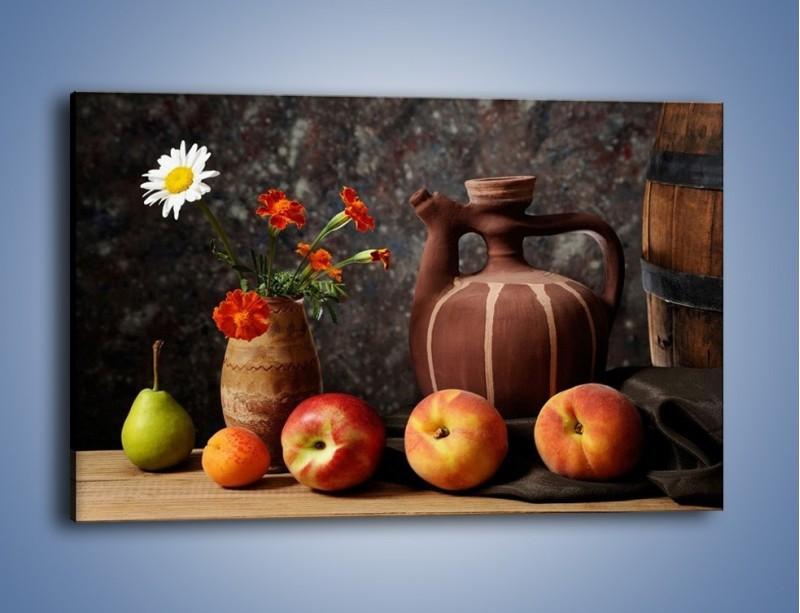 Obraz na płótnie – Kwiaty wśród owoców – jednoczęściowy prostokątny poziomy JN280