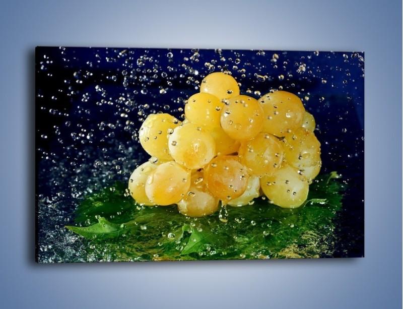 Obraz na płótnie – Słodkie winogrona z miętą – jednoczęściowy prostokątny poziomy JN286