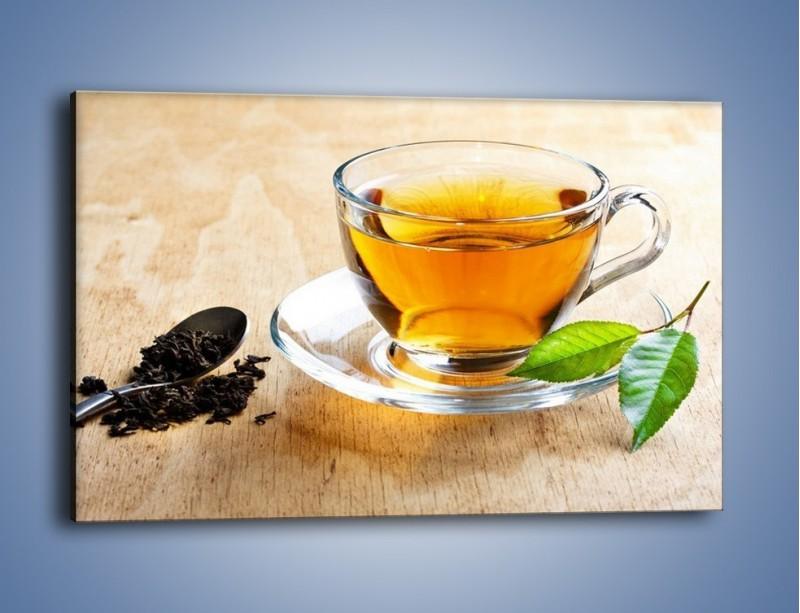 Obraz na płótnie – Listek mięty dla orzeźwienia herbaty – jednoczęściowy prostokątny poziomy JN290