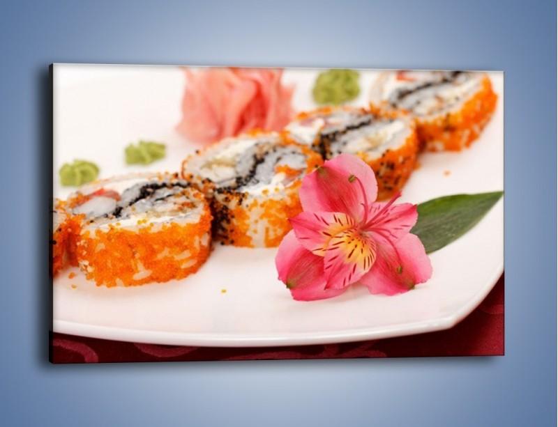 Obraz na płótnie – Sushi z kwiatem – jednoczęściowy prostokątny poziomy JN354