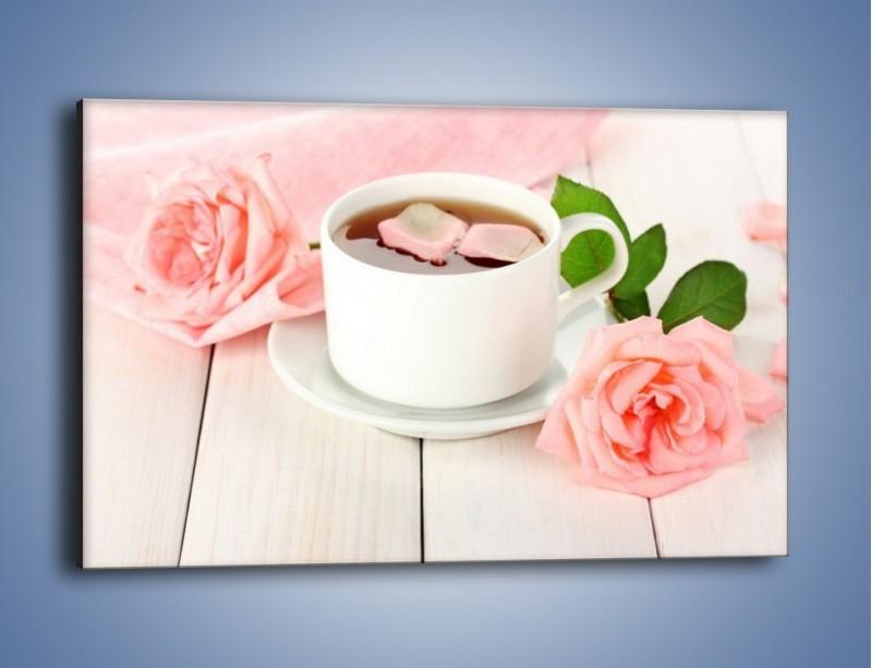 Obraz na płótnie – Herbata wśród róż – jednoczęściowy prostokątny poziomy JN369
