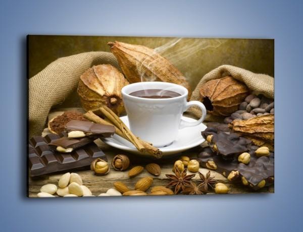 Obraz na płótnie – Kawa z orzechami i czekolada – jednoczęściowy prostokątny poziomy JN387